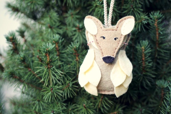Fawn Owl Christmas Tree Ornament with Mask, Whimsical Woodland Felt Ornament, Animal Tree Ornament by Ordinary Mommy Design