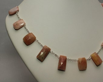 Square Pink Opal Necklace