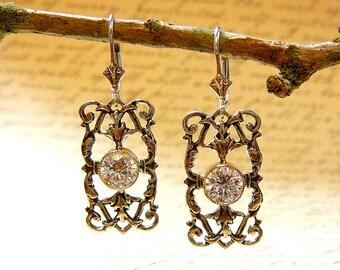 Sterling silver Filigree Earrings with Milgrain Bezel and Swarovski CZ