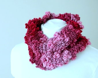 Loopy Pink and Burgundy Ombre Circle Cowl Scarf - Hand Knit by Me
