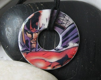 X MEN MAGNETO Comic Book Ucpcycled Jewelry Washer Pendant Necklace Marvel Comics