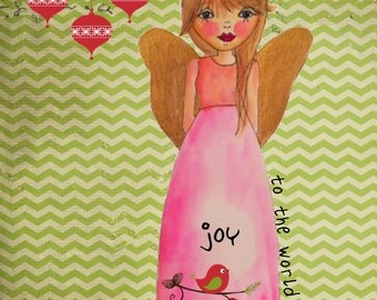 Christmas Notecard custom hand drawn angel watercolored cards Joy to the world notecards Christmas cards