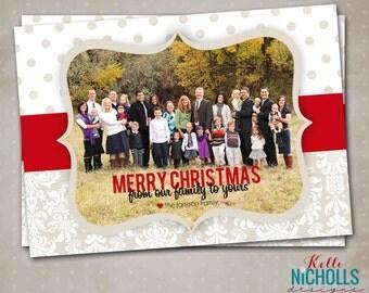 Custom Damask & Polka Dot Photo Christmas Card, Printable Holiday Greeting Card