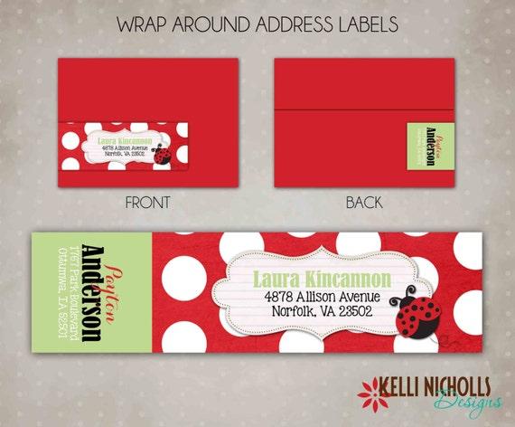 ladybug wrap around return address label by. Black Bedroom Furniture Sets. Home Design Ideas
