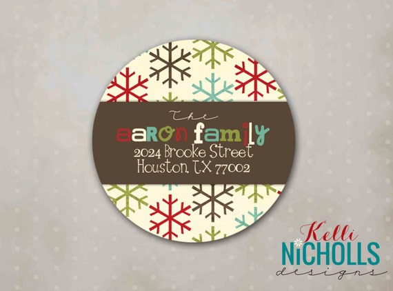 Snowflake Christmas Address Label, Custom Return Address Holiday Envelope Sticker #C101