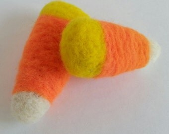 Pair of Needle Felted Halloween Candy Corn