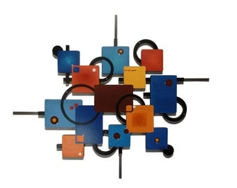 Retro look Geometric Abstract Art Wood Metal Wall Sculpture Hanging 37x31- unique and stylish