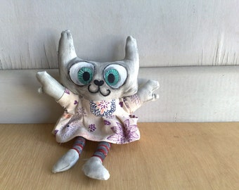Hand painted art doll - Gracy the garden cat (made to order)