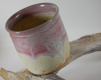 Pottery Tumbler, Rustic Country White With Rose Pink-Handmade, Serving, Wine