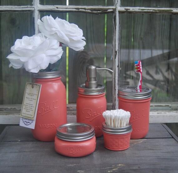 Coral mason jar bath set lotion soap q tip talona bath by - Bathroom soap and lotion dispenser set ...
