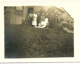 Antique Country RPPC Photograph Post Card Farm Family By Barn Vintage Real Photo Postcard