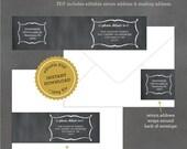 Chalkboard Address Labels, Printable Wrap Around Labels, Editable Address Label Template, Wedding Address Labels INSTANT DOWNLOAD