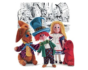 1970 Alice In Wonderland Dolls Pattern Woman's Day Book Toys and Dolls Joan Russell 57 Fairy Tale Character Dolls Vintage Sewing Pattern