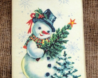 Retro Snowman Chtristmas Tree Tags #292