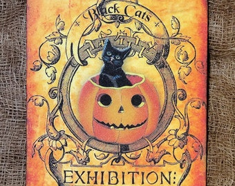 Black Cat Pumpkin Halloween Gift or Scrapbook Tags or Magnet #321