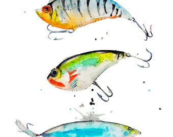 Watercolor Fishing Lures Art Print-Giclee-Boy's Room-Cabin Art-Fishing Lure Art-Lakehouse Art
