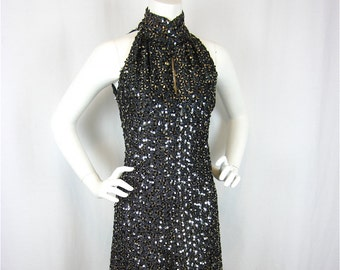 Vintage 60s New Years Eve Sequined Gown, Cutaway Shoulders, Sz S, M