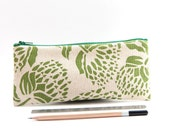 Orgainic Cotton Pencil Case - Green Bud Motif, Back to School