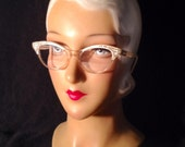 Vintage 50s Pearl White Cat Eye Glasses with Rhinestones Rx Ready