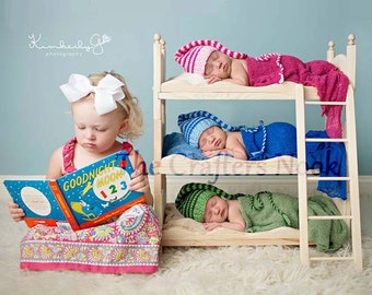 Photography Prop Beds Photo Prop bed Newborn Triplets Mattresses Ladder New Mom Triple Doll Bed Bunk Bed DIY Baby Boy New Baby Girl Picture