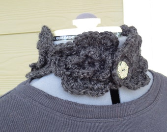 Grey Neck warmer - Wool Blend - Grey Flower Neck Warmer - Flower Cowl - Neck Cuff - Grey Cowl
