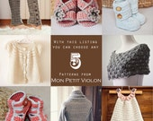 You choose any 5 patterns (crochet and knitting patterns)