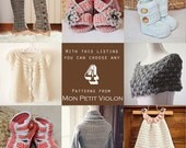 You choose any 4 patterns (crochet and knitting patterns)