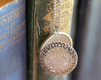 Solid Natural Perfume Filigree, Perfect Gift for Her, for the Eco-lover, Green beauty or Travel gal - Brass Locket Pendant in Silver Finish