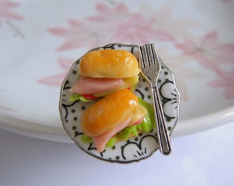 Sandwish Ring, Miniature Food Ring, Polymer Clay Bread On Ceramic Plate With Silver Fork, Adjustable Ring Size