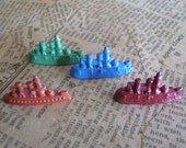 Cracker Jack Ships Toy Ships Red Ship Blue Ship Green Orange Collectible Metal Ships