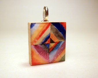 Wassily Kandinsky ABSTRACT ART / Pendant / UPCYCLED Scrabble Jewelry / with Satin Cord