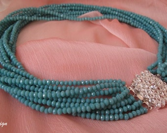 Turquoise  Crystal bride wedding necklace, rhinestone closure  pendant, bridesmaids,