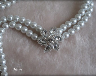 Bridal Pearl Necklace, Wedding Pearl  Ivory Necklace, Star Rhinestone Brooch, 2 Strands Pearl Jewelry   , Brides, Bridesmaids