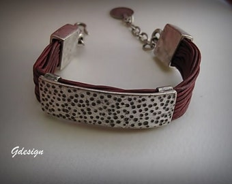 Ethnic, Authentic Silver Plated metal - leather bracelet.