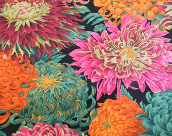 Philip Jacobs Japanese Chrysanthemum in Red Cotton Fabric PJ41