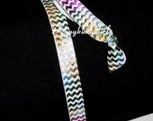 White Rainbow Chevron Metallic Foil Elastic Hair Tie and Headband Set Multicolored Stretch Bracelet Red Pink Silver Gold Purple Green Blue