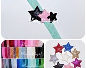 Triple Glitter Star Elastic Headband 5/8 inch Sparkle Stretchy Choose One from 69 Colors Pastels Jewel Tones Black Gold Neon Red Bookmark 3