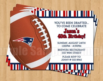 10 - PRINTED New England Patriots Invitations with Envelopes Football Birthday Bachelor Party Sports