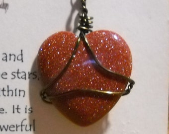 Goldstone Heart Amulet