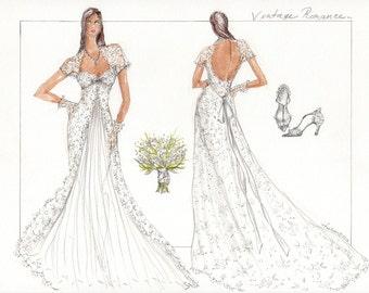 Bride Portait Illustration, Wedding Gown Sketch, Bridal Gown Sketch, Paper Anniversary Gift, Wedding Gown Illustration, Bridal Illustration