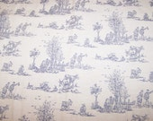 """Vintage Fabric, Toile Faille Tapestry, 26 1/4"""" Square, Blue and Off White, Pastoral Scene"""