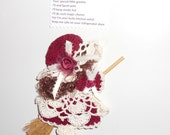 Maroon and Ecru Crocheted Kitchen Witch Fridgie Magnet
