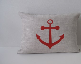 Pillow Cover - Cushion Cover - Anchor - 12 x 16 inches - Choose your fabric and ink color - Accent Pillow