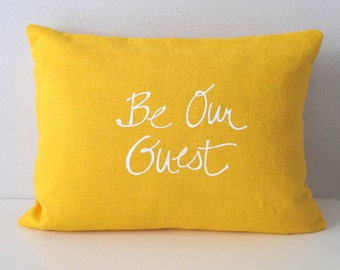 Pillow Cover - Be our Guest - 12 x 16  inches - Choose your fabric and ink color - Accent Pillow