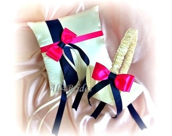 Navy Blue and Fuchsia Pink Weddings pillow and basket, ring bearer pillow and flower girl basket weddings decorations