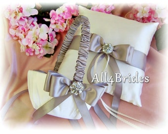 Wedding Flower Girl Basket and Ring Bearer Pillow, Silver Grey Wedding Ceremony Accessories