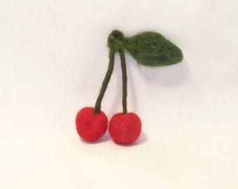 Felt Fruit - Needle Felted Cherries small fruit