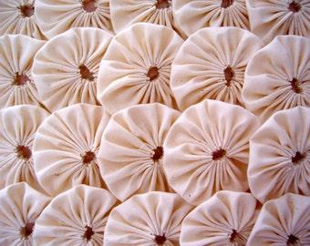 Primitive Fabric Flower 50 MUSLIN Yo Yo RUSTIC 1 Inch Applique Quilting Headband Barrette Hair Clip Trim