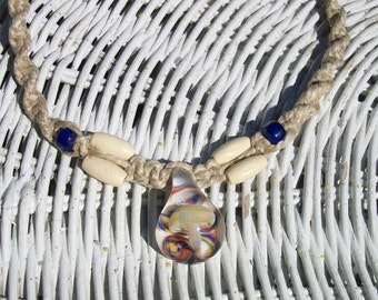 Hemp Necklace with Glass Mushroom Bead FREE SHIP