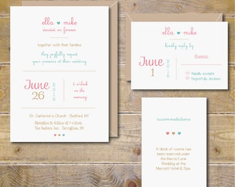 Wedding Invitations . Spring Wedding Invitations . Modern Wedding Invitations . Rustic Wedding Invitations - So In Love